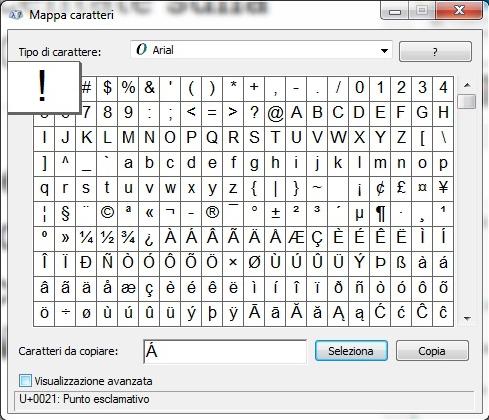 Mappa caratteri